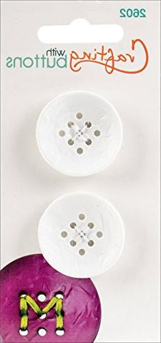 """Blumenthal Lansing 9 Hole Buttons-Small White 1"""" 2/Pkg"""
