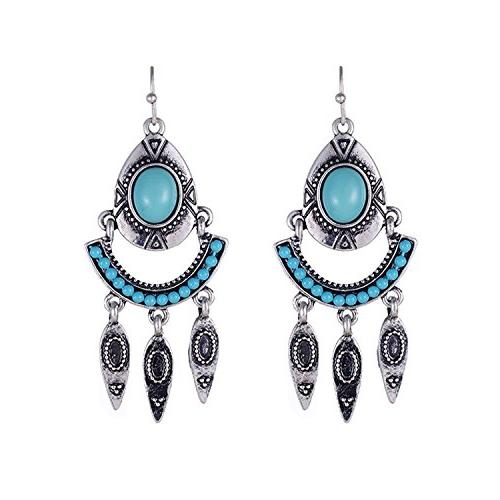 New Arrival Bohemia Fashion Women Blue Red Beads Leaf Shaped