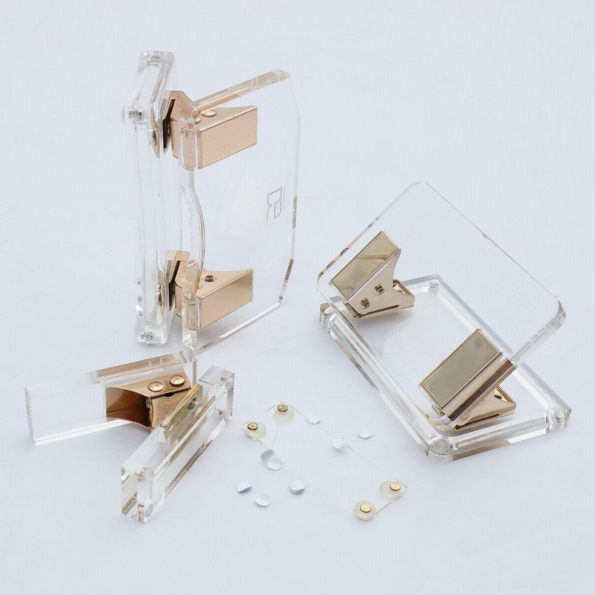 acrylic gold clear paper hole punch desktop