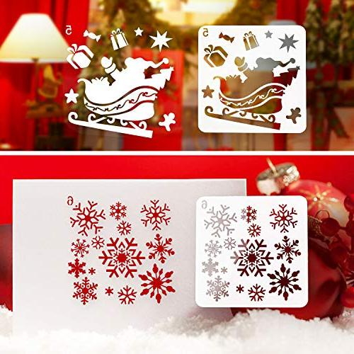 Kizh Christmas Template,8 Pcs Reusable Plastic Journaling Window