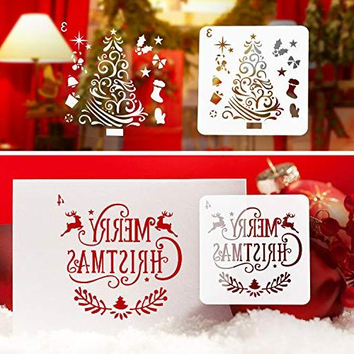 Kizh Stencils Pcs Reusable Art Drawing Spraying Journaling Xmas Snowflake for Window Door Body