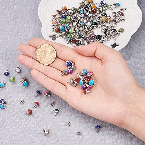 PandaHall Elite 8mm Turquoise Double Cap Metal Eyelets Fasteners Snap Buttons Bag Bracelet Leather Colors