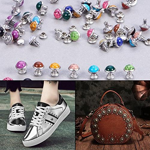 PandaHall Elite 8mm Double Metal Eyelets Repair Fasteners Snap Buttons Bag Shoes Leather