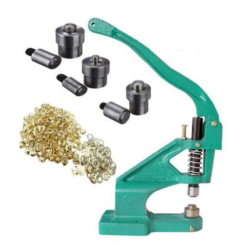 iMeshbean Heavy Duty Hand Press Eyelet Grommet Machine with 3 Die #0#2#4 /& 1500Pcs Golden Grommets Eyelet Craft Tool Kit Hole Punches Machine