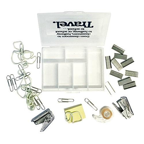 Teacher Travel Case with Hold Punch, Sticky Notes, Paper & Rubber Bands Best as Gift
