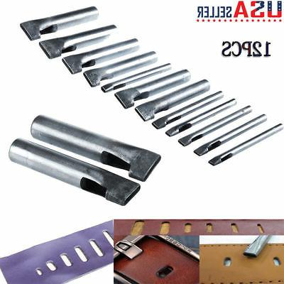 12x Leather Craft Rectangle Punch Hole Oval Shape Tools