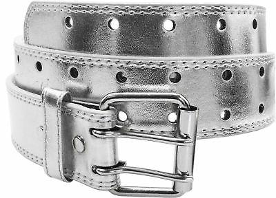 NEW Designer Womens Mens 2 Row Punch Leather Belt S Prong Buckle