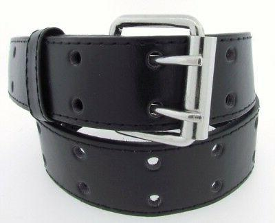 2 Row 2 Punch Leather Belt Prong Mens Womens S/M/L/XL-4XL
