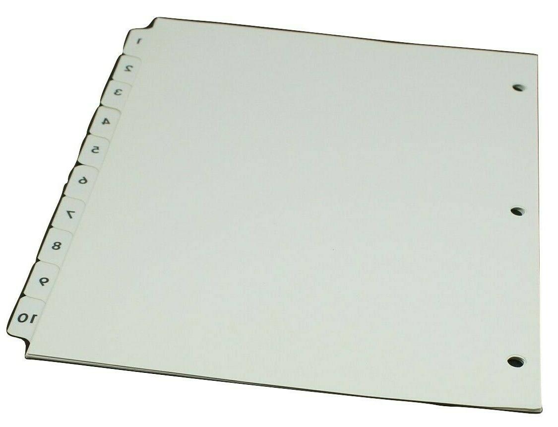 numbered 1 10 index tab dividers reinforced