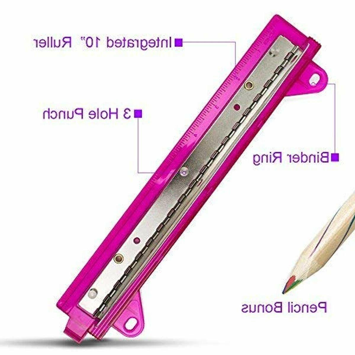 School/Office Portable 3Hole Punch with Ruler-Assorted Bonus Pencil