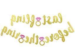 Last Fling Before The Ring Gold Glitter Banner-Bachelorette