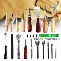 Leather Craft Tool Kit 18pcs Stitching Carving Working Sewin