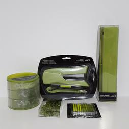 Lime Green Office Supplies Set: Hole Punch, Stapler, and Acc