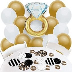 Mr. & Mrs. - Gold - Confetti and Balloon Bridal Shower Decor