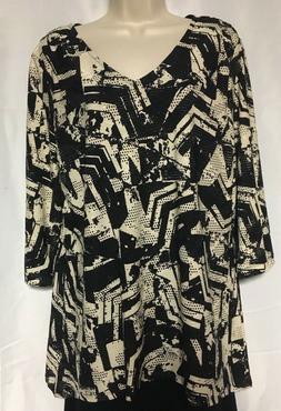 NWOT JM Collection Punch Hole Sequins Geometric Black Taupe