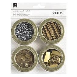 American Crafts Office Supplies Tin Set with Circle Clips/Cl