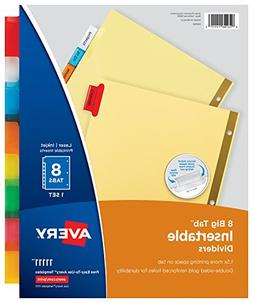 Avery 8-Tab Binder Dividers, Insertable Multicolor Big Tabs,