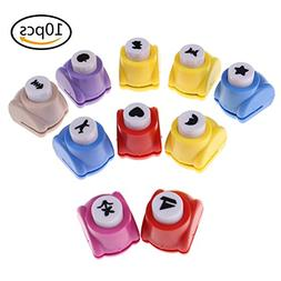 CosCosX 10 Pcs Mini Crafting Paper Punches Cute Multi-Patter