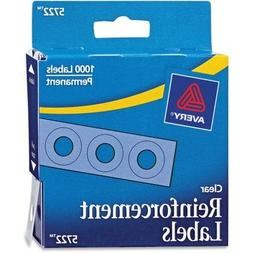 Avery Permanent Reinforcement Labels, Clear, 1/4 in Diameter