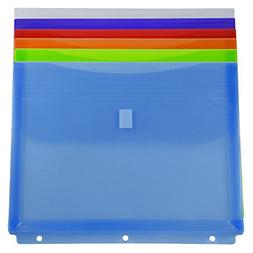 JAM Paper Plastic 3 Hole Punch Binder Envelopes with Hook &