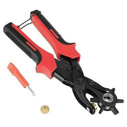 Portable Leather Belt Eyelet Holes Punch Pliers Revolving Ha