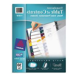 Ready Index Table/Contents Dividers, 10-Tab, Letter, Assorte