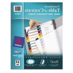 Ready Index Table/Contents Dividers, 12-Tab, Letter, Assorte
