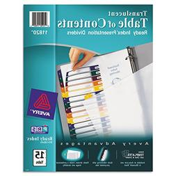 Avery Ready Index Translucent Table Of Content Dividers - 15
