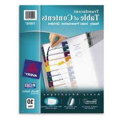 Avery  Ready Index  Translucent Table of Contents Dividers,
