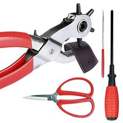 Revolving Metal Punch Plier Kit, Belt Hole Punch Tool