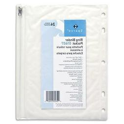 "Ring Binder Pocket, with Zipper, Vinyl, Hole Punched, 10.5""x"