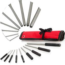 #1 Roll Pin Punch Set, 9 Pieces With Red Storage Pouch, Tuff