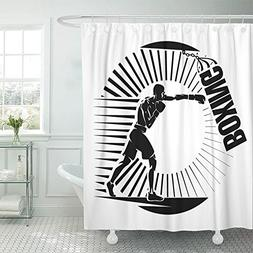 "Emvency Shower Curtain 72""x72"" Polyester Fabric Sport Boxing"