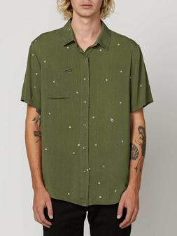 VOLCOM Squadron Green Hole Punch Short Sleeve Front Button S