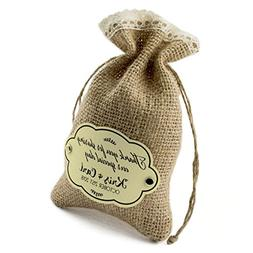 Summer-Ray 24pcs Personalized Burlap Bags with Crochet Lace,