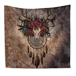 Watercolor Dream Catcher Home Tapestry,Wall-Mounted Beach To