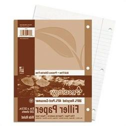 Ecology Wide Ruled Recycled Filler Paper, White, 500 Sheets