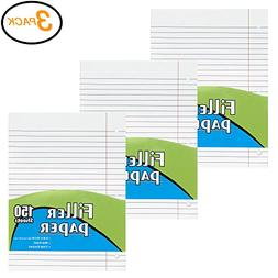 "Emraw Wide Ruled 10.5"" X 8"" Inch  Filler Paper with 3 Ho"