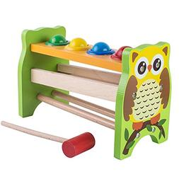 wooden pounding hammering educational bench