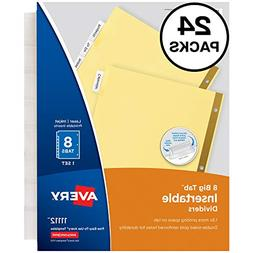 Avery 8-Tab Binder Dividers, Insertable Clear Big Tabs, 24 S