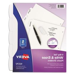 "Avery 16370 Write-On Divider, 5/Tab, 3-Hole Punch, 8.5""x11"","