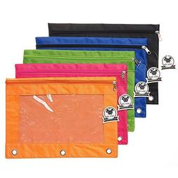 Zippered Binder Pencil Pouch with Rivet Enforced Hole 3 Ring